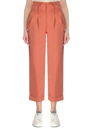 Brunello Cucinelli Brunello Cucinelli Turuncu Yüksek Bel Pilili Cropped Pantolon 101614059 Oranj